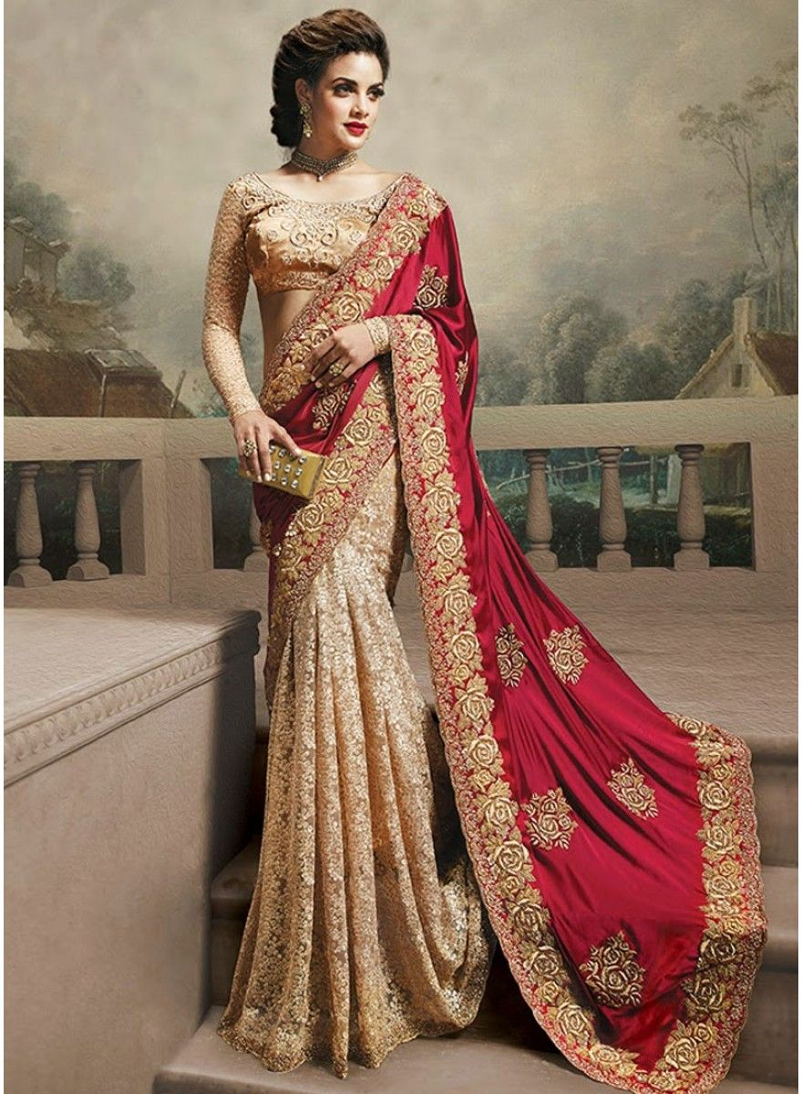 Peach color saree for wedding markable cream with red pure chiffon designer saree
