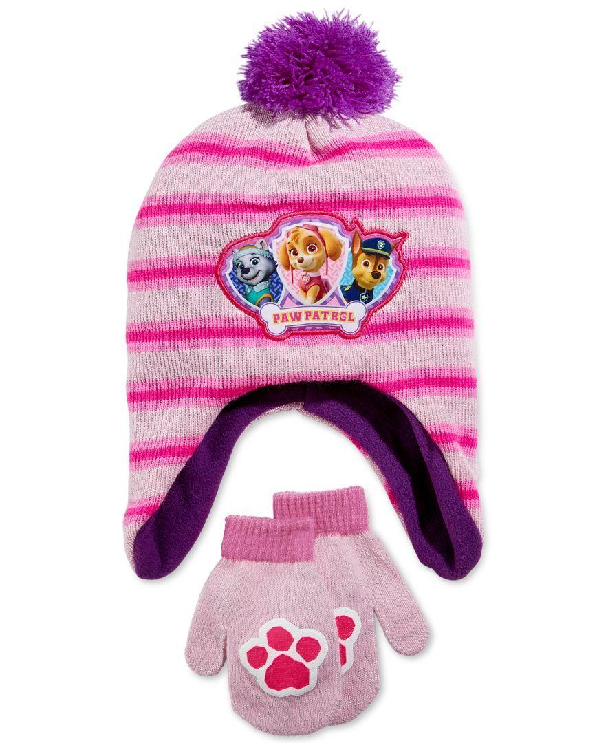 ddf6faad23e65 Nickelodeon Little Girls  Paw Patrol Hat   Mittens Set