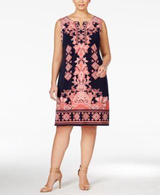 6467a8055ee44c JM Collection Plus Size Printed Sheath Dress