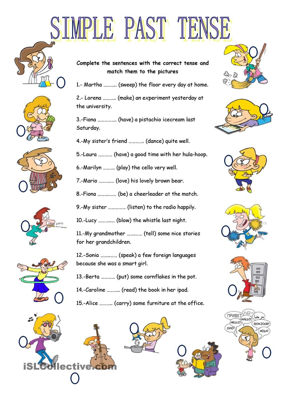 SIMPLE PAST TENSE Exercícios de inglês, Aulas de inglês
