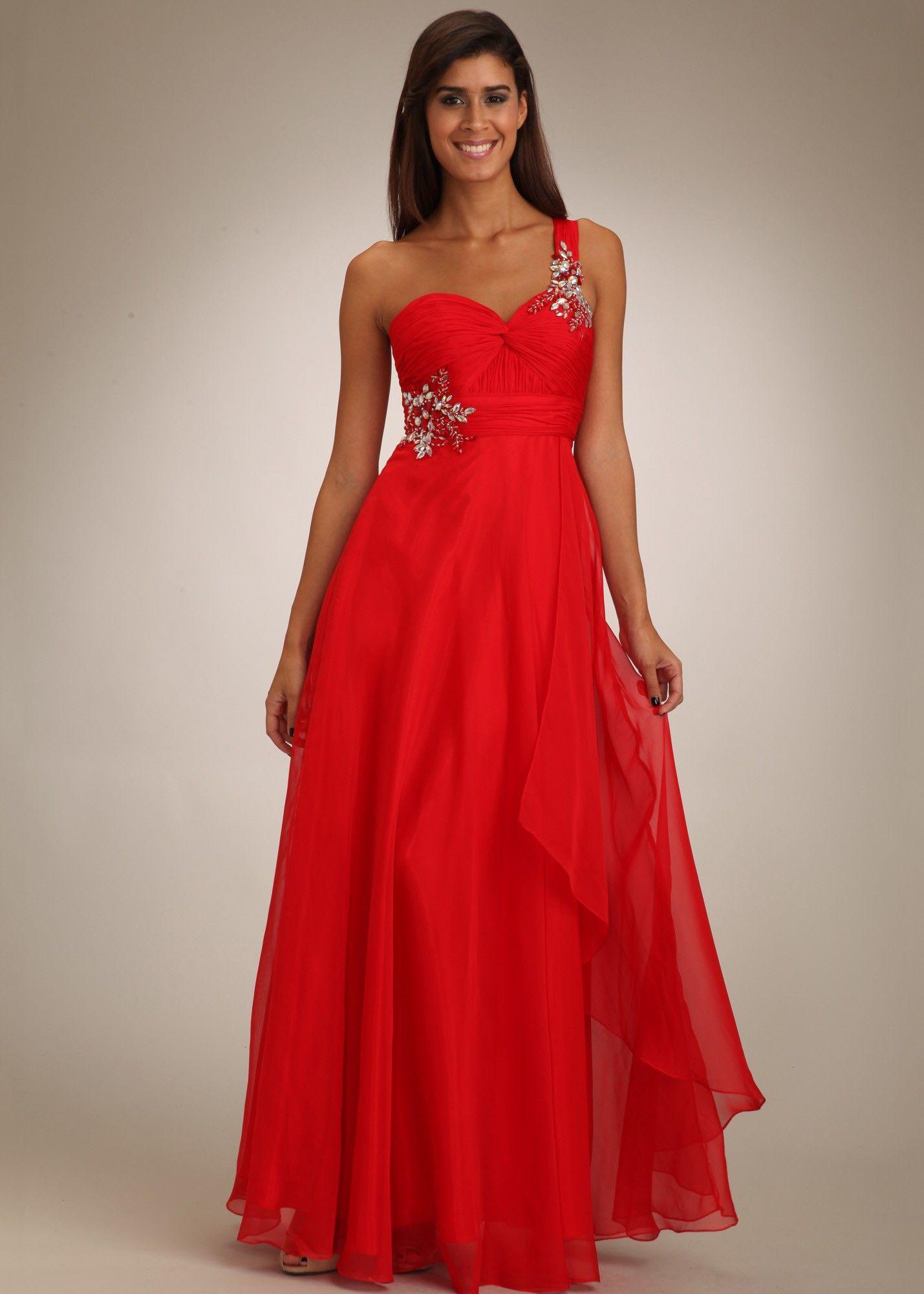 Temptation red one shoulder prom dresses rissyroos