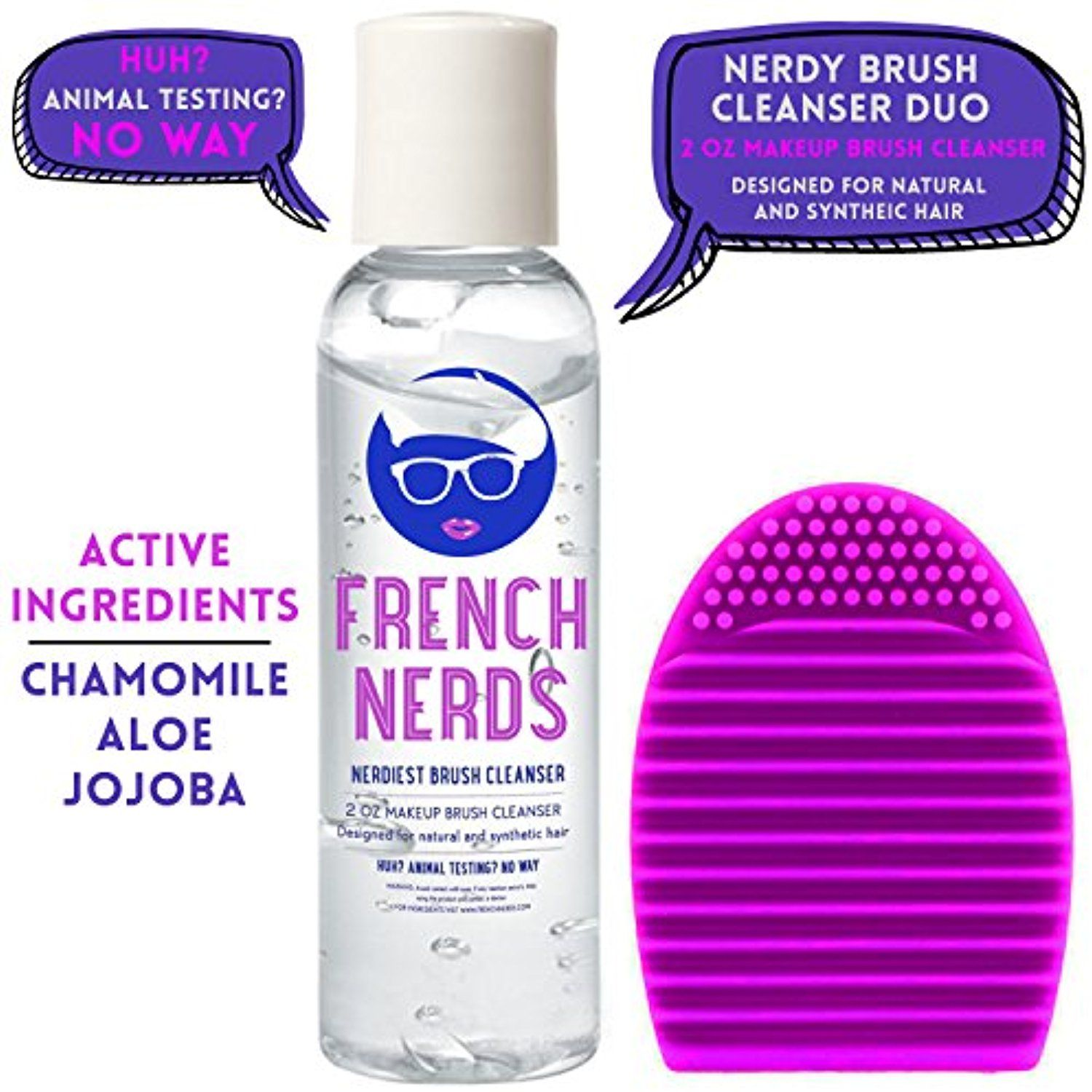 French Nerds Makeup Brush Cleaner and Brush Egg, 2oz