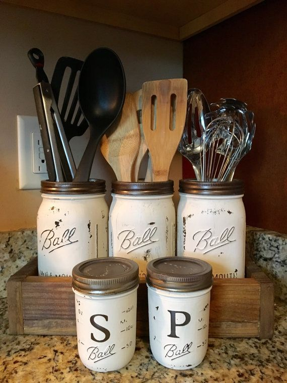 Utensil mason jar holder with salt and pepper shaker option