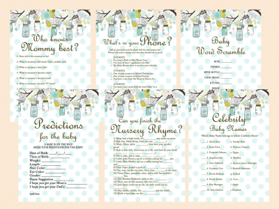 Mason Jars Baby Shower Games Printables Neutral Baby Shower Rustic