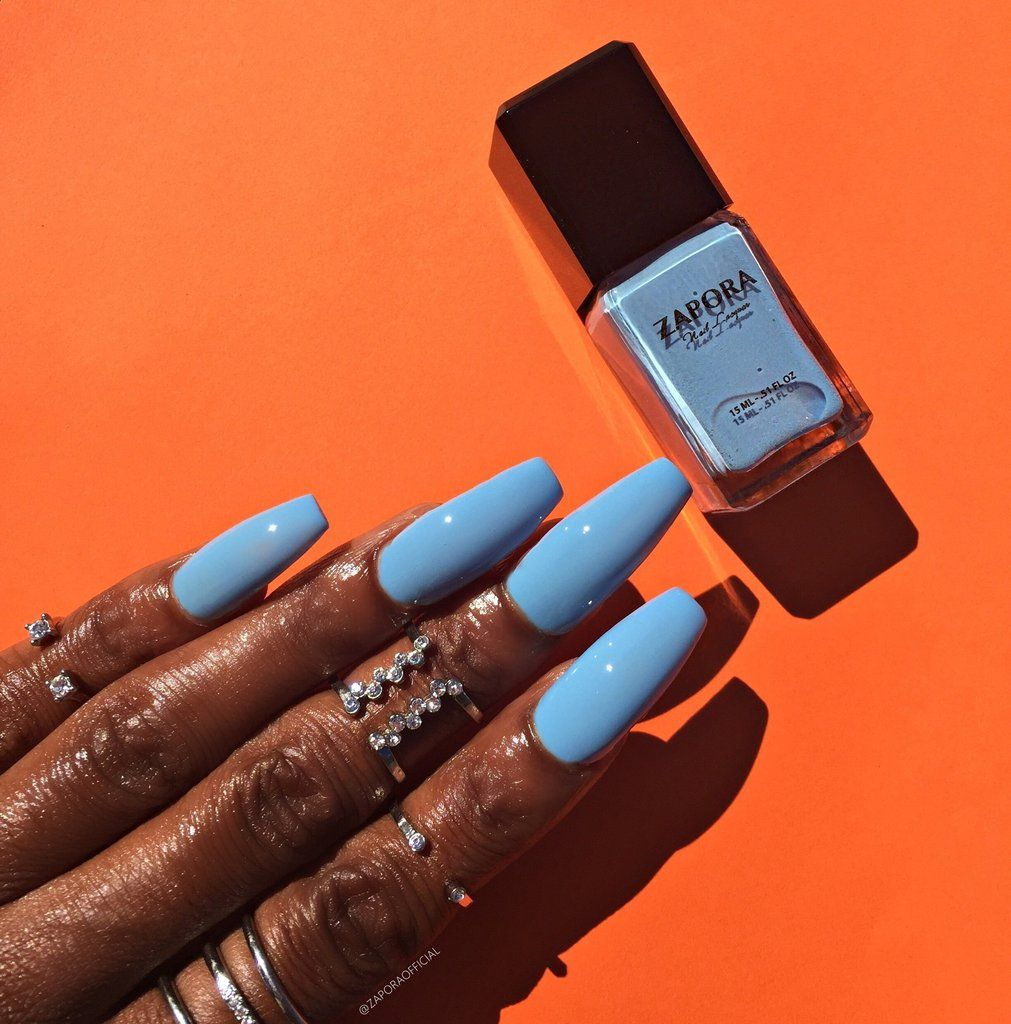 Beach Resort Zapora Nail Lacquer Baby Blue Nails Blue Nails Dark Skin Nail Color