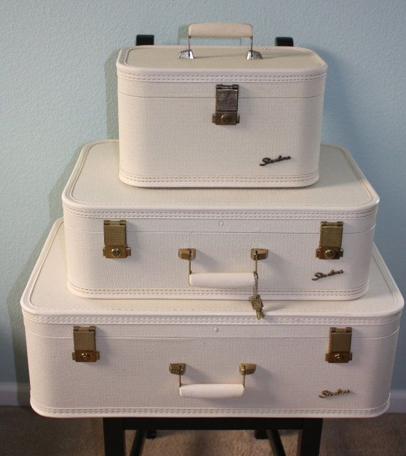 Starline By Lady Baltimore 3 Piece Vintage Luggage Suitcase Set White W Keys