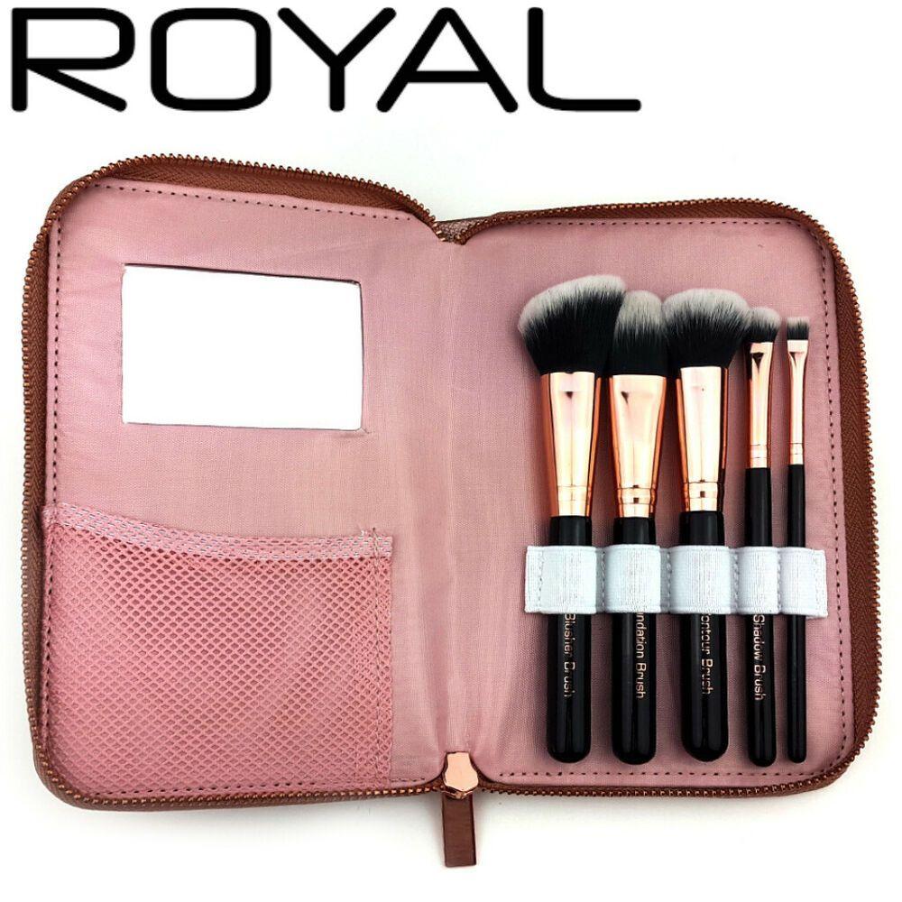 Details about Makeup Brush Set Rose Gold Metallic Case