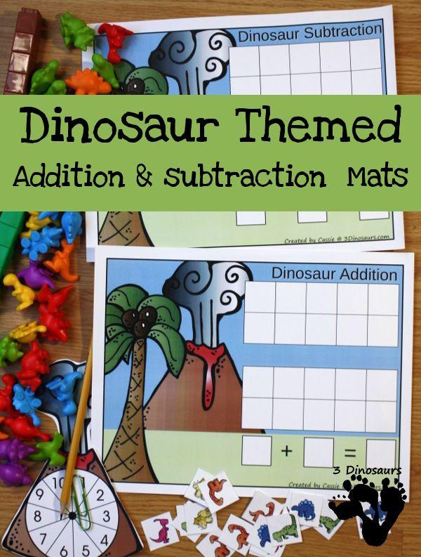 dinosaur themed addition subtraction mats free dinosaur theme activities for kids. Black Bedroom Furniture Sets. Home Design Ideas