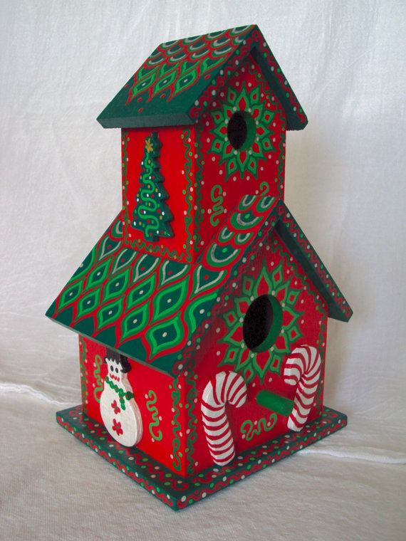 Christmas Birdhouses Crafts.Christmas Birdhouse 2 Story Gingerbread Style Candy Canes