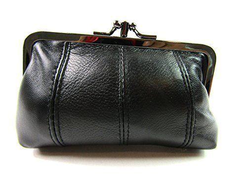 2212e4017d524 Damen NEU super weich Echtleder Clipverschluss Portemonnaie Zwillings  Tasche - Schwarz. DAMEN DAMEN NEUE ECHTES