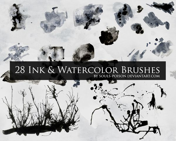 28 Ink And Watercolor Brushes By Soulspoison Deviantart Com On