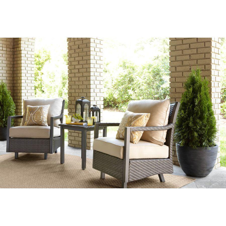Allen Roth Set Of 2 Hayton Gray Aluminum Woven Seat