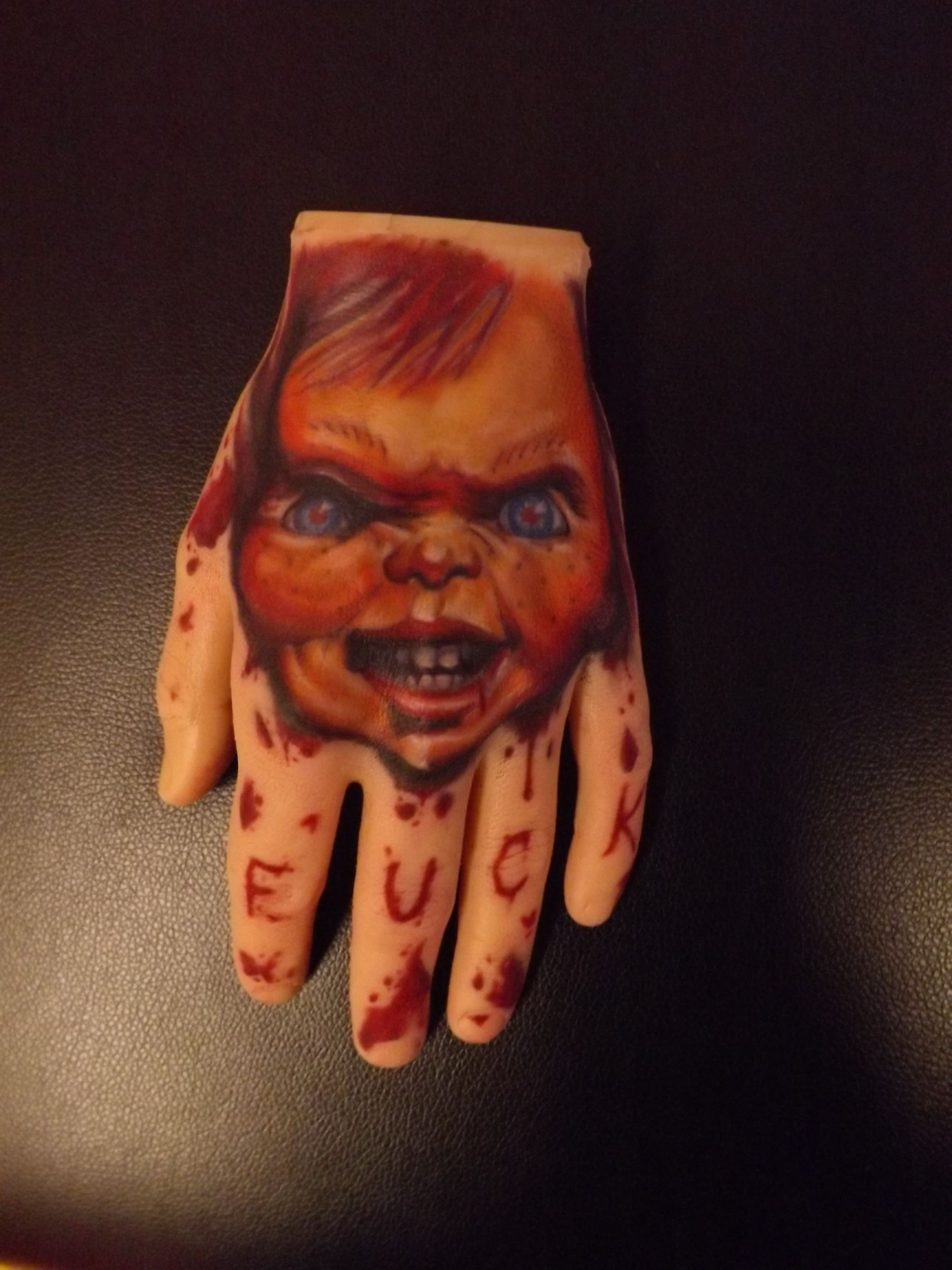 chucky tattoo from child 39 s play in a pound of flesh hand iii pinterest. Black Bedroom Furniture Sets. Home Design Ideas