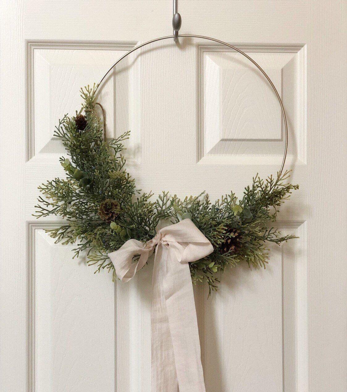"Photo of 14 ""READY TO SHIP, Modern Fall Hoop Wreath, Hoop Wreath, Christmas Wreath, Artificial Green Wreath, Modern Wreath, Country Style Wreath"