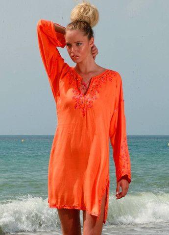f3aac771c1 MARRAKECH - Orange Cotton Beach Kaftan by MyaBlueBeach designer of  flattering beach kaftans and holiday cover-ups - myablueBeach