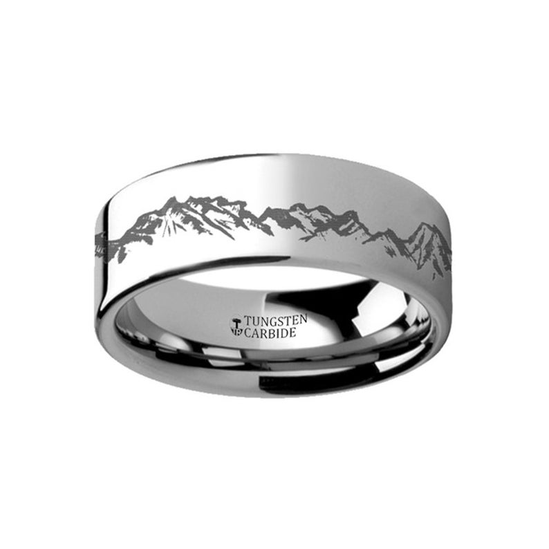 Mountain Range Outdoors Engraved Flat Tungsten Ring Etsy In 2020 Engraved Rings Black Tungsten Rings Mens Wedding Rings