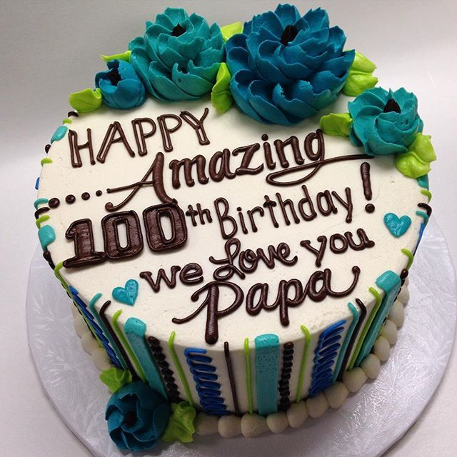 Buttercream 100th Birthday Cake 70th For Men Writing Guy
