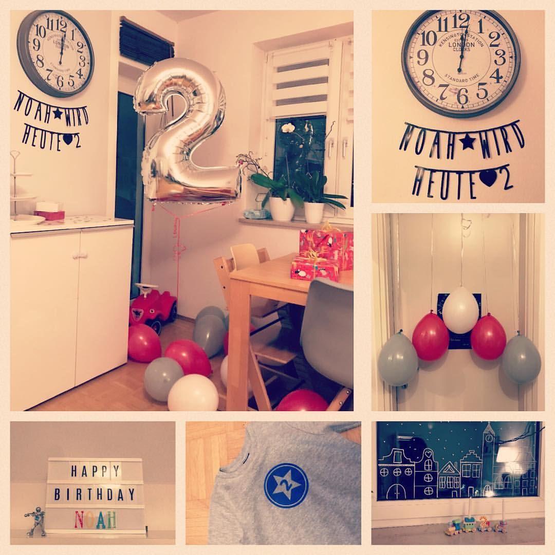2 Geburtstag Deko Junge Birthday Boy Rot Weiss Grau Geburtstag