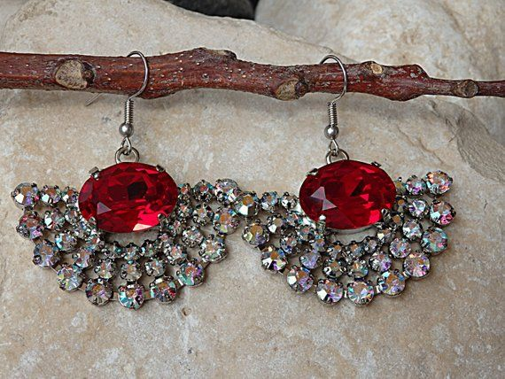 6d52311ed RED CLEAR EARRINGS, Evening Jewelry, Swarovski Earrings, Bridal Drop  Earrings, Deep Red Earrings, Long Dangle Earrings, Ruby Red Earrings | Rebeka  Jewelry ...
