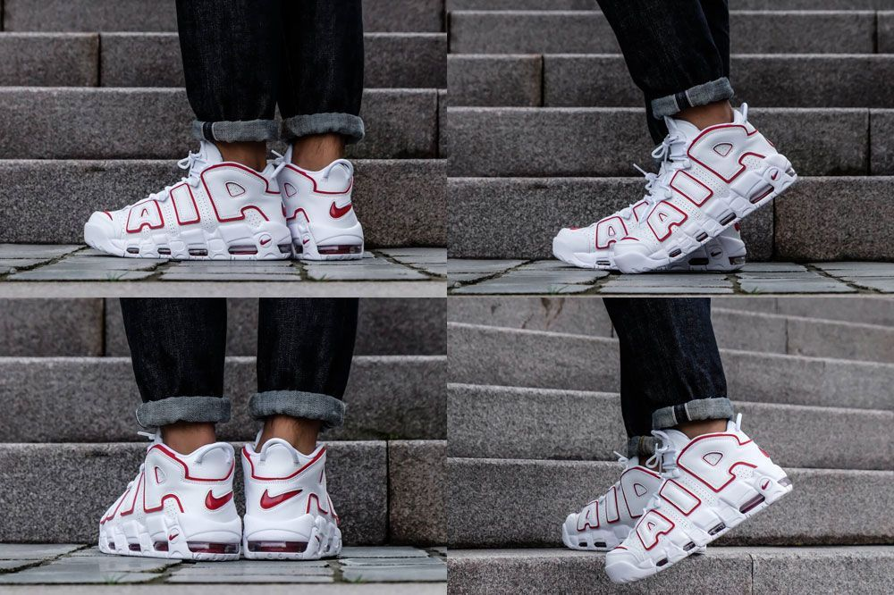 size 40 6033b 47122 2018 Nike Air More Uptempo White Varsity Red On Feet