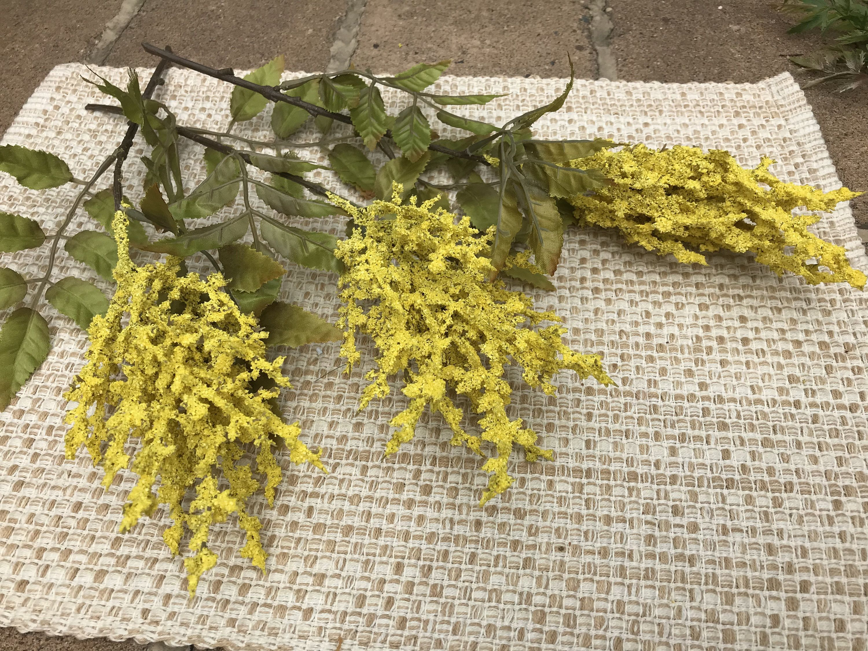 3 Large Artificial Yellow Astilbe Yellow Faux Astilbe Astilbe For Crafts Yellow Faux Flowers For Crafts Ye Faux Flowers Faux Flower Arrangements Yellow Flowers