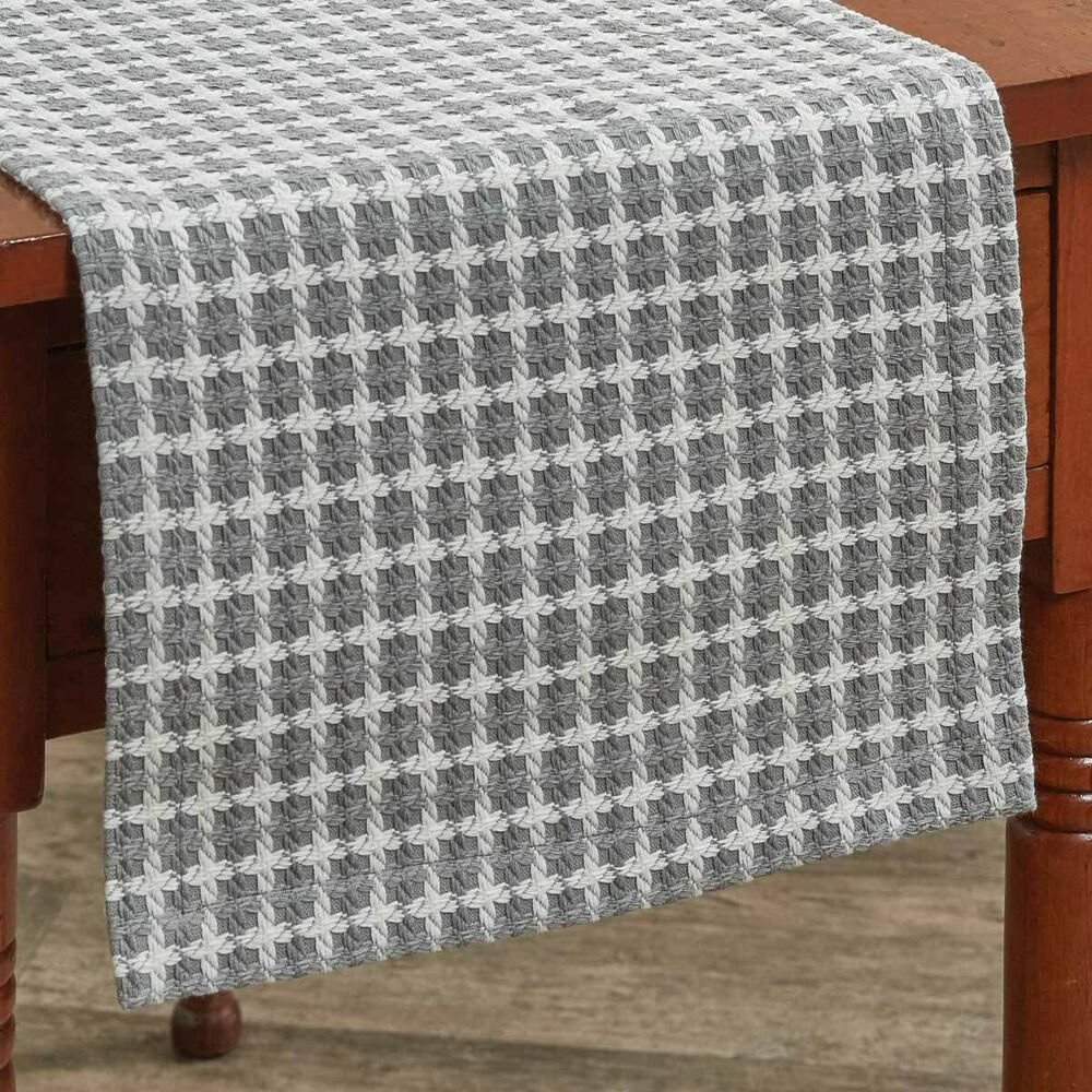 Details About Crossings Gray White Table Runner 36 Woven Square Pattern Farmhouse Cottage In 2020 Cottage Table Table Top Decor Farmhouse Table Runners