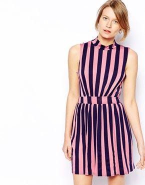 Love High Neck Stripe Dress | Turtleneck Dress | Pinterest ...