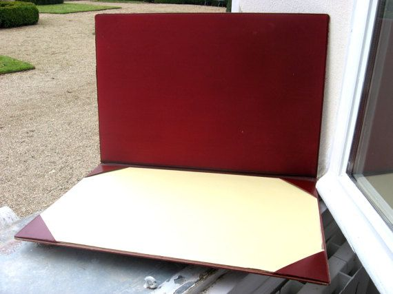 Quality Leather Desk Pad French Vintage 1950s Office Burgundy Blotter With Cover Moire Fabric