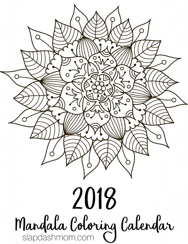 Free printable 2018 calendar mandala coloring pages free printables pinterest coloriage - Coloriage mandale ...