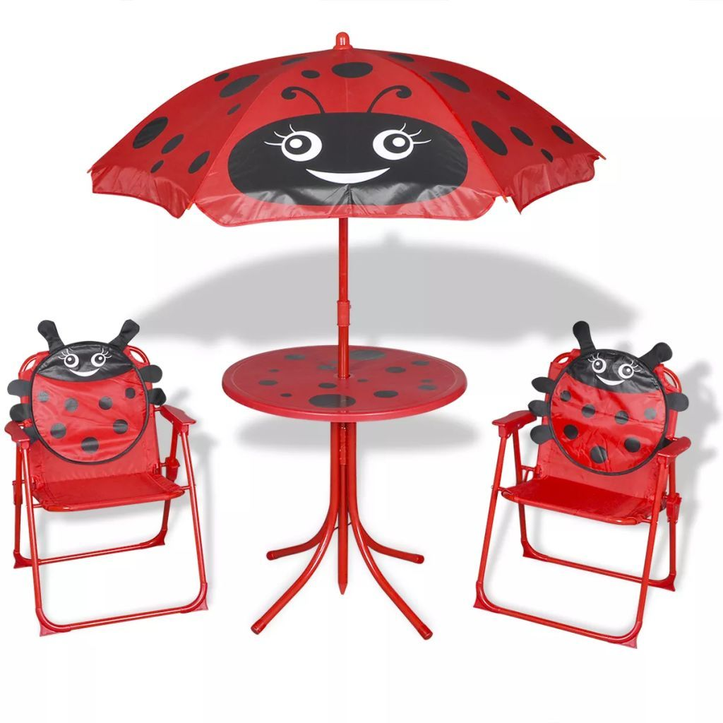 Kids Bistro Set With 2 Chairs And Parasol Garden Patio Outdoor Red