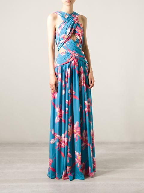 f5054495572 Pascal Millet Cross Strap Floral Evening Dress - Jean Pierre Bua - Farfetch .com
