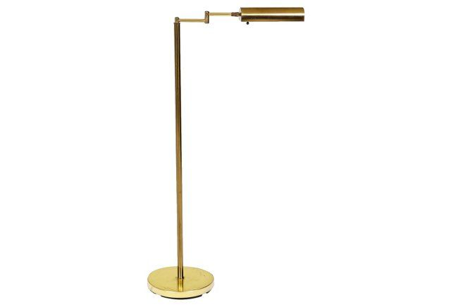 1960s gilt metal expandable floor lamp