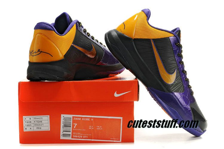 27730a9620d0 Kobe V Shoes LA Lakers Away Black Varsity Purple Yellow 386430 071 ...