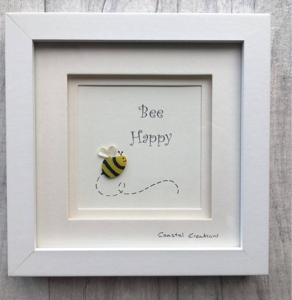 Photo of Sea glass & pebble art – bumble bee, bee happy