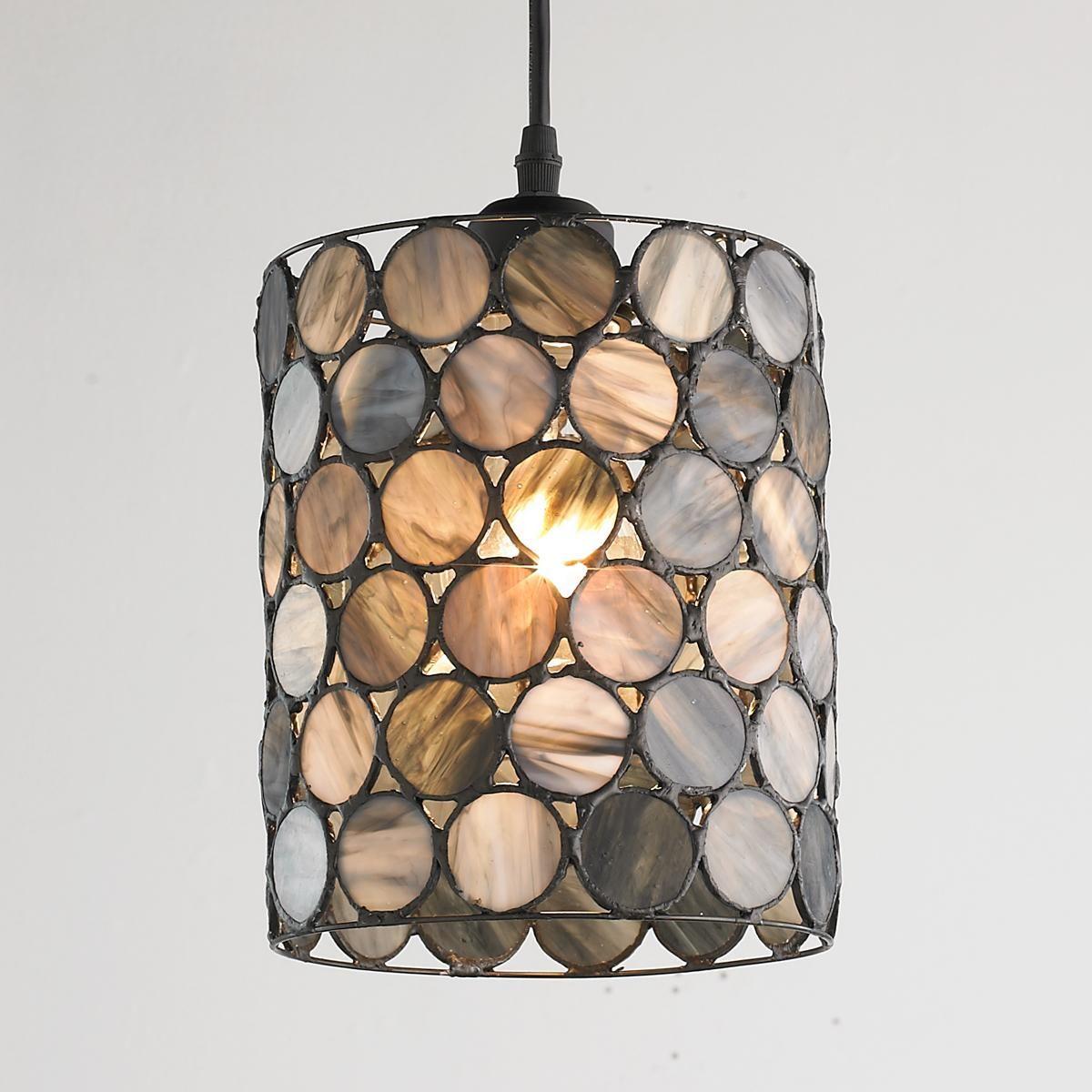 Smoky Art Glass Circles Pendant Light Closet