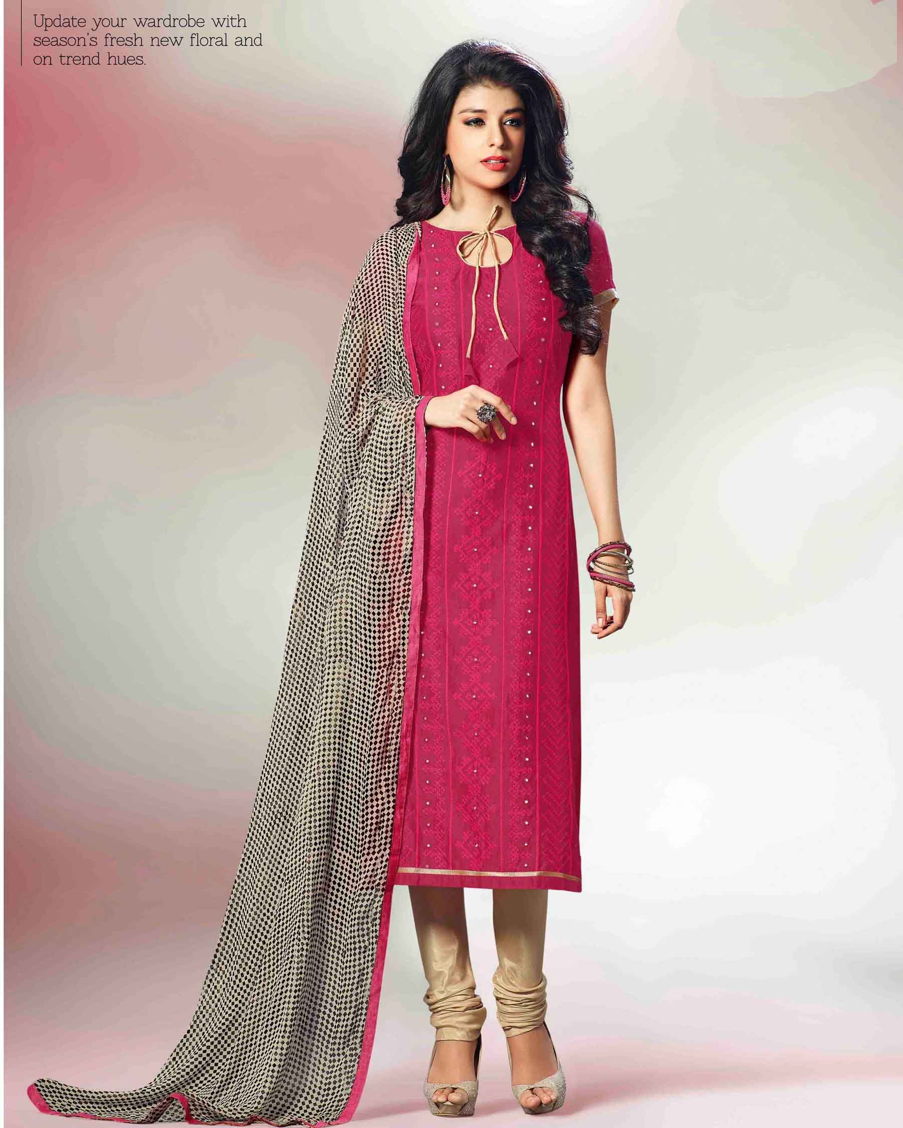 fd15a42289 Maroon luxuriant Embroidered Chanderi Silk Salwar Suits for women(Semi  Stitched) Fabric  Chanderi Silk Work  Embroidered Type  Salwar Suits for  women(Semi ...