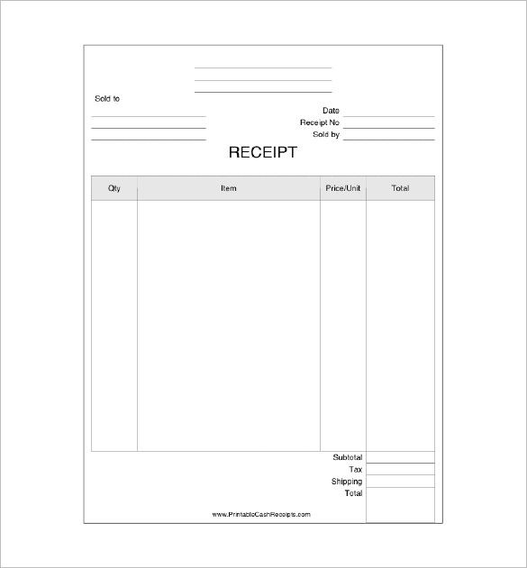 Business Receipt Template , Receipt Template Doc for Word Documents