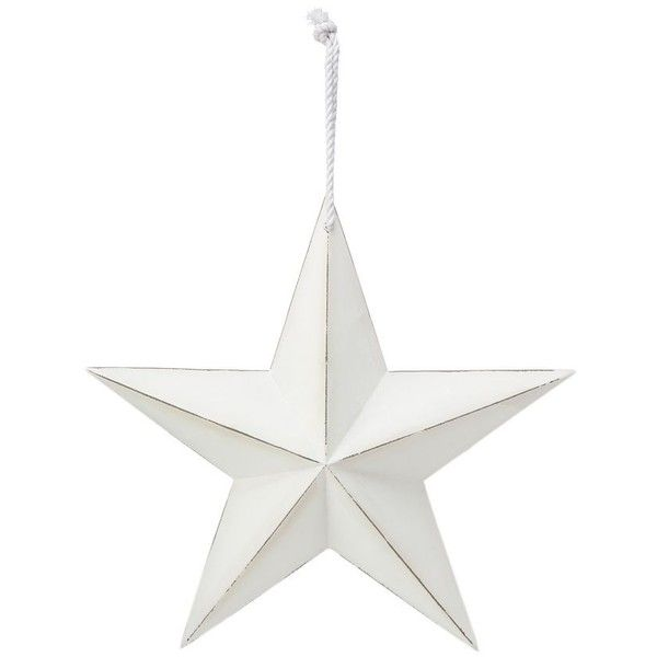 Debenhams White wooden star ornament Debenhams ($100) ❤ liked on Polyvore featuring home, home decor, holiday decorations, white home decor, star ornaments, wooden ornaments, wood ornaments and white home accessories