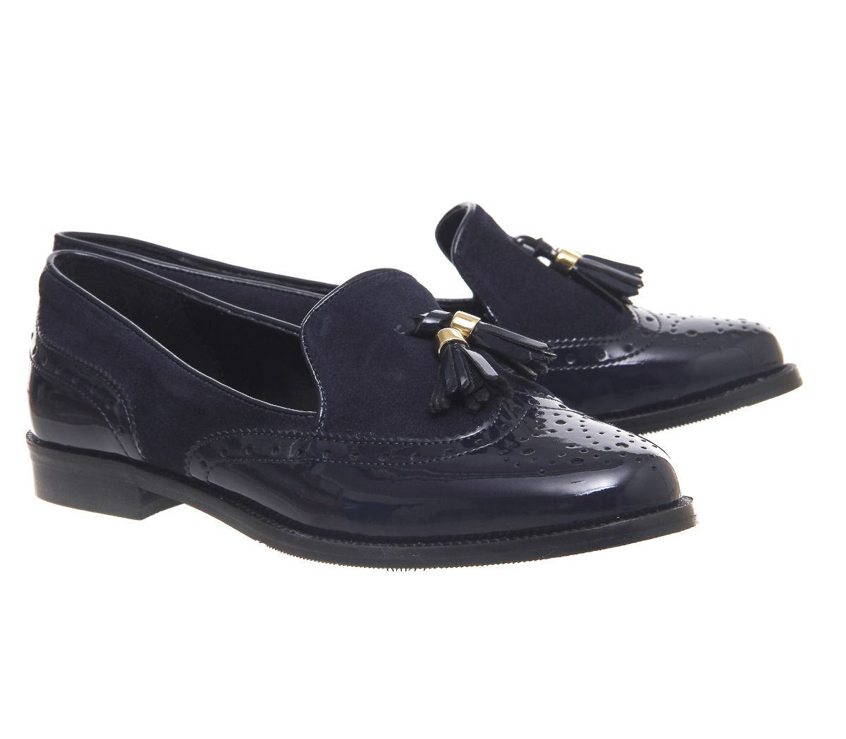 Office Ringo Tassel Loafers Navy Patent Suede - Flats