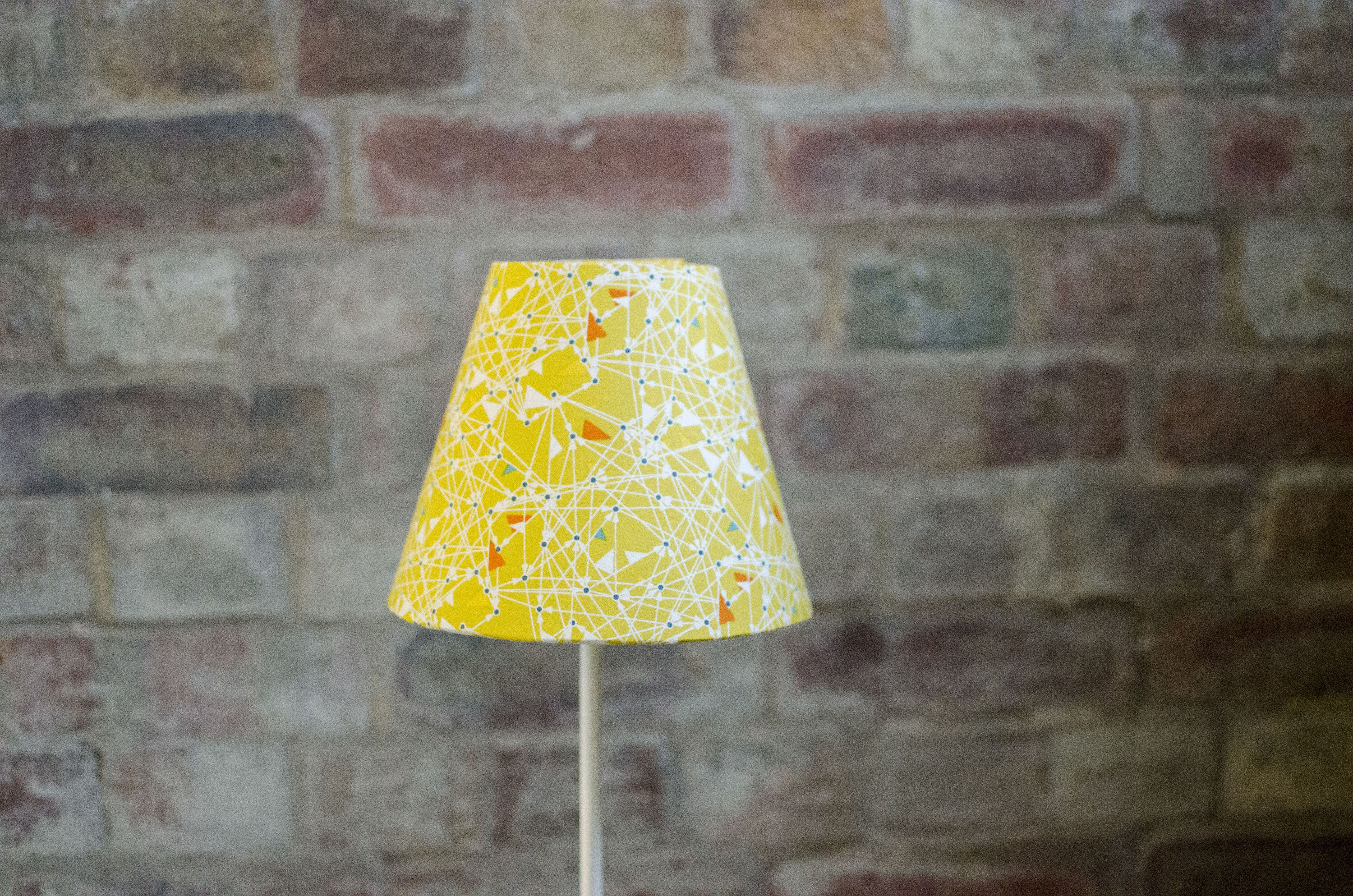 Geometric Lampshades Yellow Lamp Shade Mustard Lamp Shade Small Table Lampshade Yellow Home Decor Yellow Geometric Lampshade Yellow Lamp Shades Lamp Shade