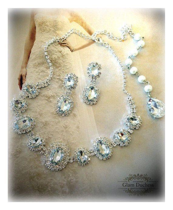 Bridal Jewelry Bridal Necklace Earring Set Bridesmaid | Etsy