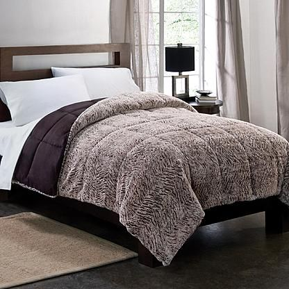 Colormate Gray Plush Down Alternative Textured Comforter Sears Com