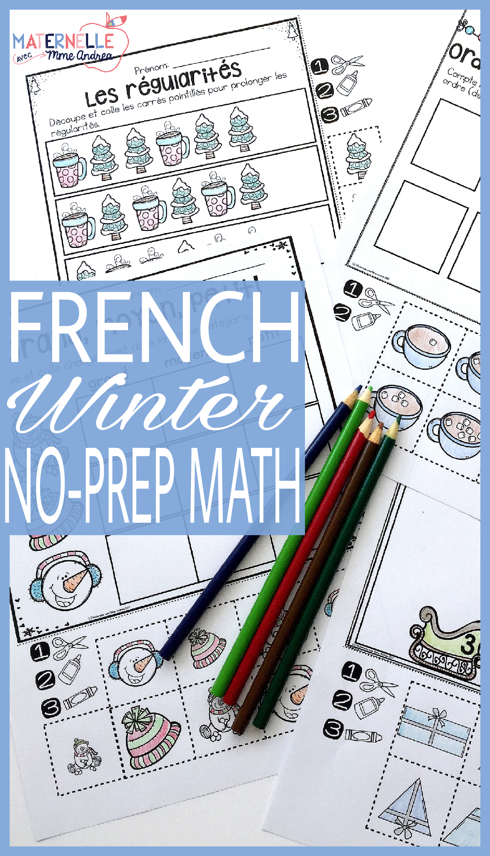 French Winter Hiver No Prep Math Worksheets Cut Paste