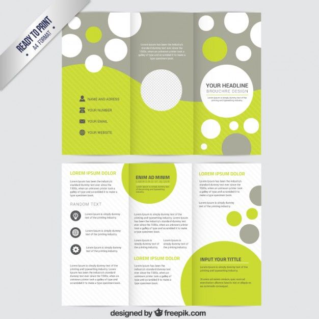 Brochure Template With Circles Free Vector Free Trifold