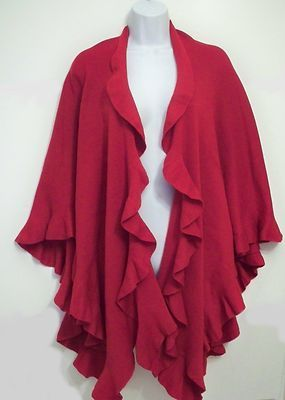 Coldwater Creek Sweater Cape Knit Shawl Wrap Red Ruffles Holiday Poncho New Tag | eBay $44.95