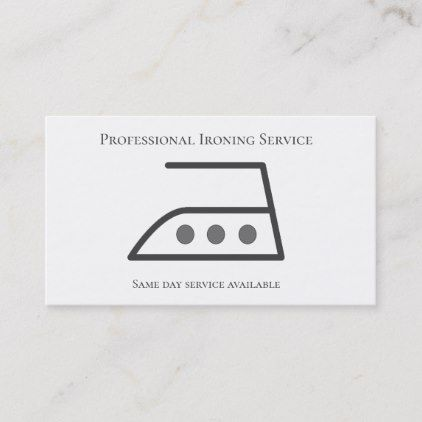 Modern Ironing Clothes Laundry Service Grey white Business Card |  Ironing Clothes Laundry Service Grey white Business Card -
