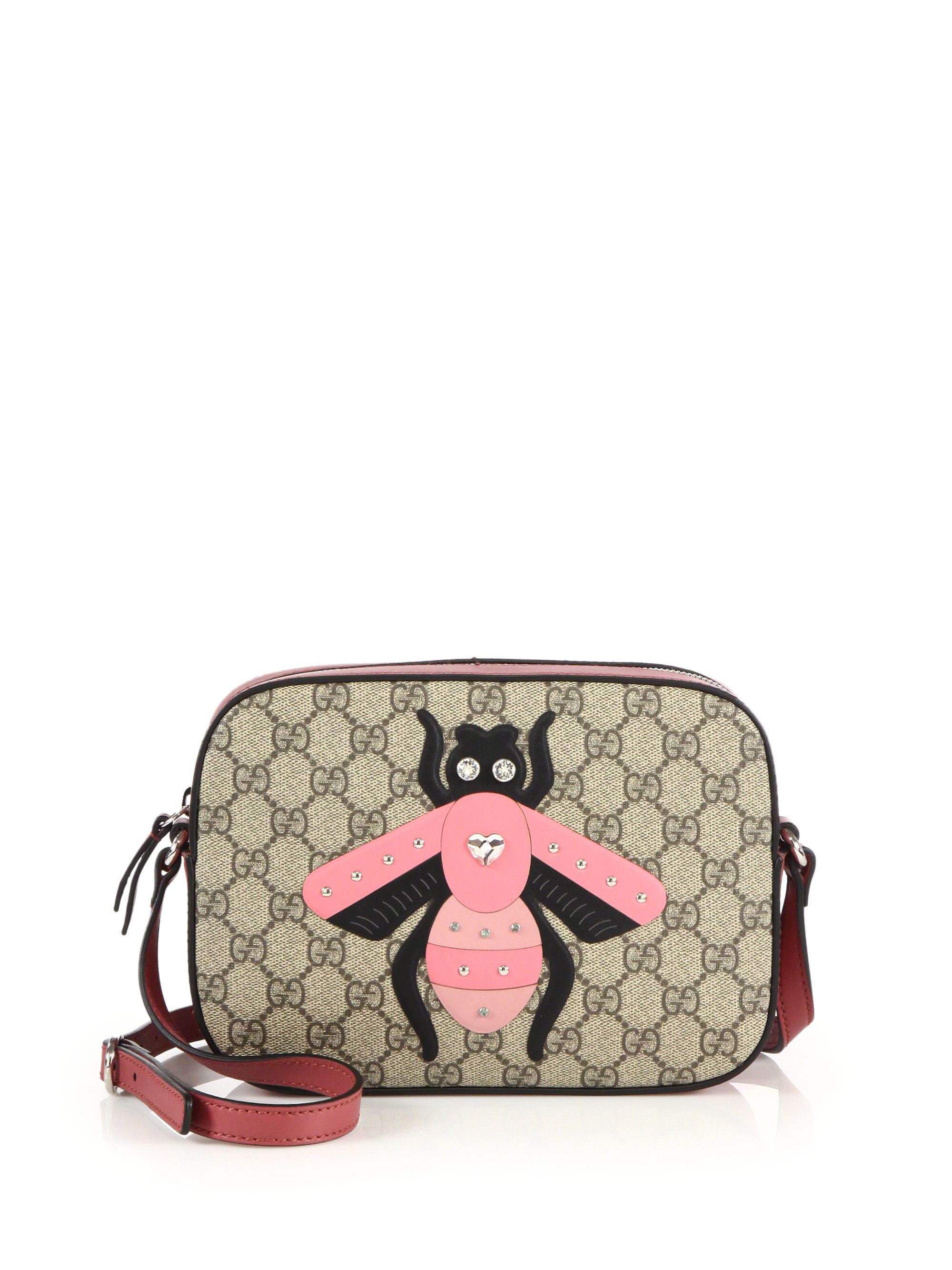 741030a713c Gucci | Pink Gg Supreme Bee Shoulder Bag | Lyst | Bags: The Edit ...