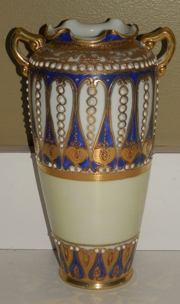 Antique Hand Painted Nippon Gold Blue Beaded Moriage Art Nouveau