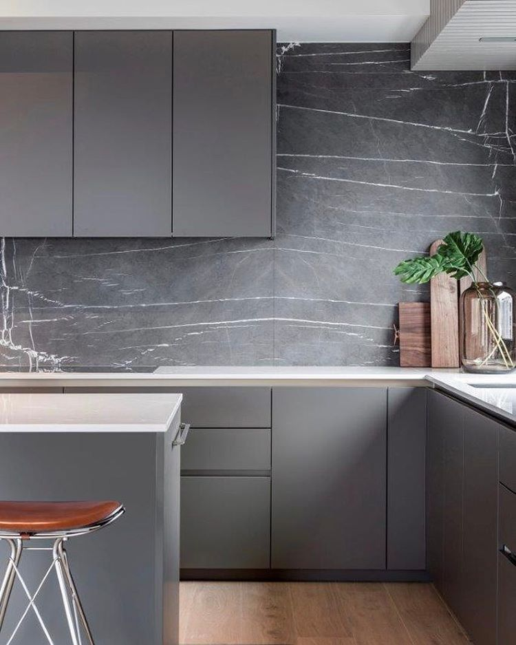 Grey kitchen with bookmatched grey marble splashback - Inger Marie Nordrum (@ingermarienordrum) on Instagram