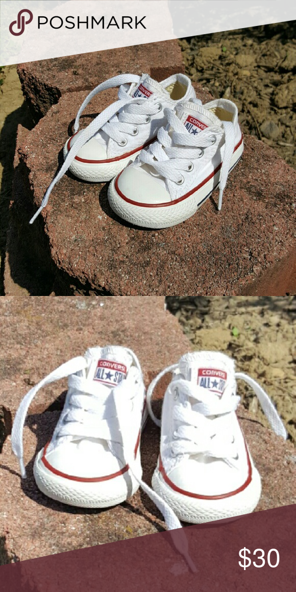86a3c7a2a6201a White toddlers converse size 6 Only got to put these on my baby once. He  wore them in the house while mastering walking   . Excellent condition!
